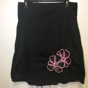 Heart Soul A-Line Cotton Skirt Flower Embroidered